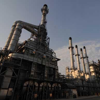 Expanding the Motiva Enterprises refinery at Port Arthur, Texas, took five years and $10 billion. The facility can now process 600,000 barrels a day.