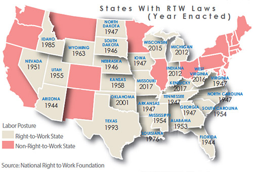 Right To Work States Map 2016.The New World Of Right To Work Area Development