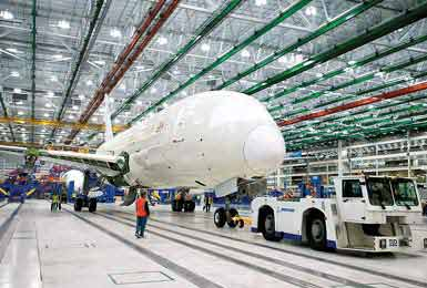 Boeing's first 787 to be built in North Charleston undergoes final assembly in December 2011.