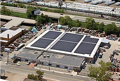 Federal and state funding helped Extech Building Materials install this solar roof array at its Newark, New Jersey, facility.