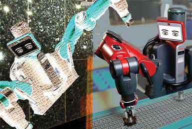 Robots like Baxter, from Rethink Robotics of Boston, Mass., pictured here, can be taught to do mundane tasks on the factory floor and even retrieve items and stack them onto pallets in the warehouse.