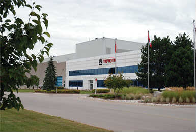 Toyota Motor Manufacturing Canada (TMMC) has a three-million-square-foot facility in Cambridge — a strategic location at the gateway to Canada's Technology Triangle in southwestern Ontario. This is the first manufacturing operation outside Japan where the company produces the Lexus model and its location selection was based on the significant access to the skilled work force and proximity to U.S. borders.